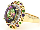 Pre-Owned Mystic Fire® Green Topaz 18k Gold Over Silver Ring 5.53ctw