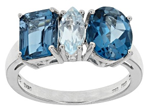 Pre-Owned London Blue Topaz Sterling Silver Ring 4.35ctw