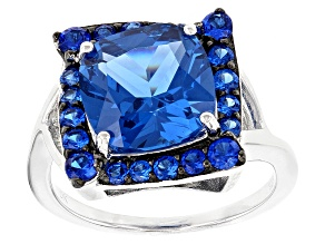 Pre-Owned Blue Lab Created Spinel Sterling Silver Ring 4.41ctw