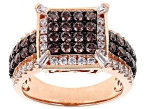 Pre-Owned Brown & White Cubic Zirconia 18K Rose Gold Over Sterling Silver Cluster Ring 3.14ctw