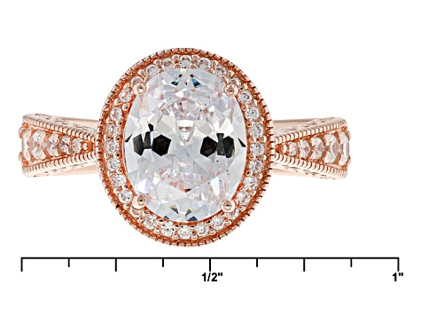 Pre-Owned White Cubic Zirconia 18k Rose Gold Over Sterling Silver Ring 4.43ctw