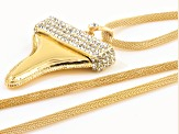 Pre-Owned Off Park ® Collection White Crystal Gold Tone Shark's Tooth Necklace