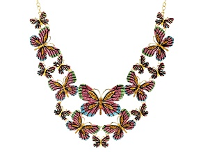 Pre-Owned Multicolor Crystal Gold Tone Butterfly Statement Necklace