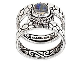 Pre-Owned White Rainbow Moonstone Cabochon Sterling Silver Solitaire Ring