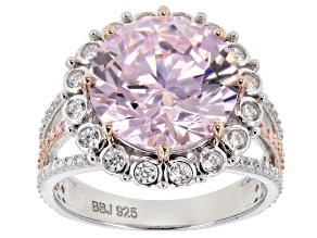 Pre-Owned Pink & White Cubic Zirconia Rhodium Over Sterling Silver Center Design Ring 13.24ctw