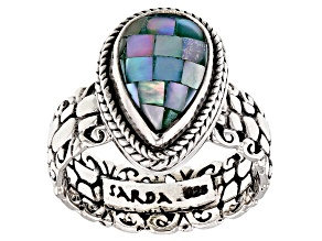 Pre-Owned Blue Green Mosaic Mother Of Pearl Silver Ring