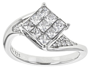 Pre-Owned White Cubic Zirconia Rhodium Over Sterling Silver 1.55CTW