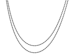 Pre-Owned Sterling Silver Rope Chain Necklace Set 20 & 24 Inch