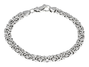 Pre-Owned Rhodium Over Bronze Flat Byzantine Link Bracelet 7.5 inch