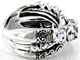 Pre-Owned White Cubic Zirconia Rhodium Over Sterling Silver Ring 3.71ctw