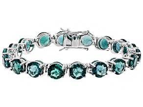 Pre-Owned Teal Fluorite Rhodium Over Sterling Silver Tennis Bracelet 35.19ctw