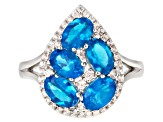 Pre-Owned Blue neon apatite sterling silver ring 2.82ctw