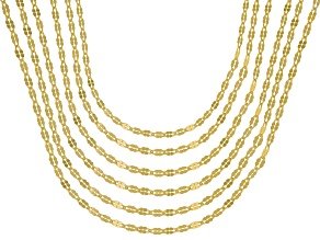 Pre-Owned 18K Yellow Gold Over Sterling Silver Twisted Mirror Chain Necklace Set Of 6