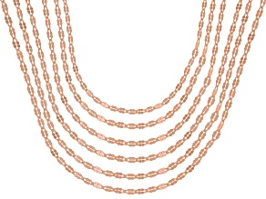 Pre-Owned 18K Rose Gold Over Sterling Silver Twisted Mirror Chain Necklace Set Of 6