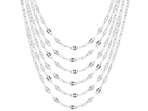 Pre-Owned Sterling Silver Twisted Mirror Chain Necklace Set of 6