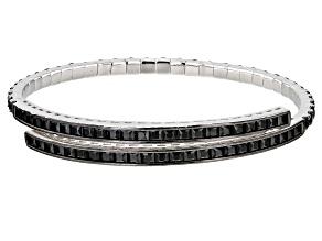 Pre-Owned Black Spinel Rhodium Over Sterling Silver Bangle Bracelet 9.25ctw