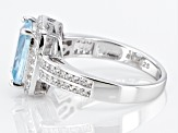 Pre-Owned Aquamarine Rhodium Over Sterling Silver Ring 3.1ctw