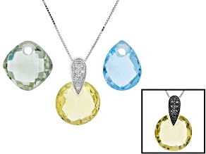 Pre-Owned 3-Gem Rhodium Over Silver Interchangeable Pendant w/Chain Set 25.10ctw