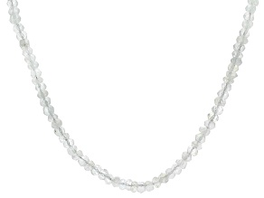 Pre-Owned Womens Faceted Bead Necklace Rainbow Moonstone Sterling Silver