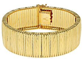 Pre-Owned 18k Yellow Gold Over Bronze Omega Bracelet 7.5 inch