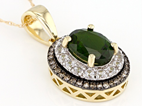 Pre-Owned Green Chrome Diopside 10k Yellow Gold Pendant With Chain 1.60ctw