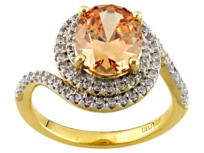 Pre-Owned Brown And White Cubic Zirconia 18k Yellow Gold Over Sterling Silver Ring 4.60ctw