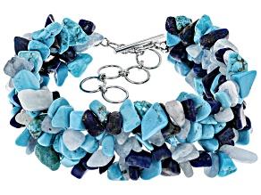 Pre-Owned Blue lapis lazuli sterling silver bracelet