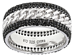 Pre-Owned Black Spinel Rhodium Over Silver Eternity Band Ring 1.37ctw