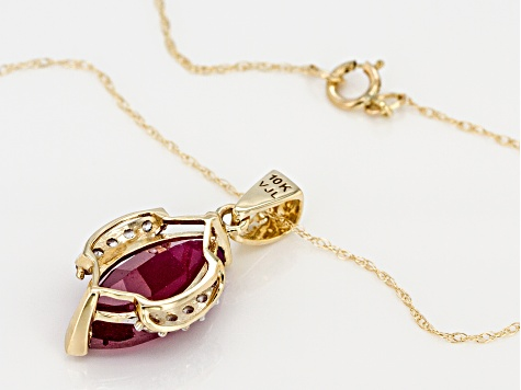 Pre-Owned Red Mahaleo® Ruby 10k Yellow Gold Pendant With Chain 3.11ctw