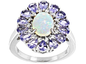 Pre-Owned Ethiopian Opal Rhodium Over Silver Ring 3.76ctw