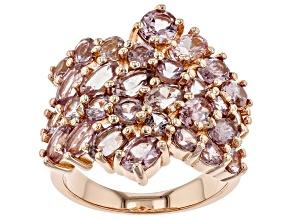 Pre-Owned Pink color shift garnet 18k rose gold over sterling silver ring 5.20ctw