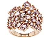 Pre-Owned Pink color shift garnet 18k rose gold over sterling silver ring 5.20ctw