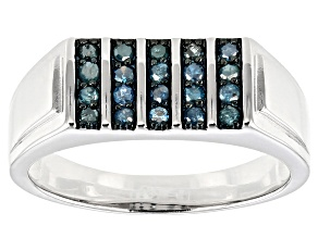 Pre-Owned Blue Diamond Rhodium Over Sterling Silver Gents Ring 0.44ctw