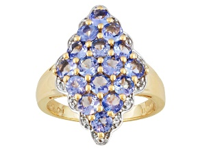 Pre-Owned Tanzanite And White Topaz 18k Gold Over Silver Ring 2.79ctw