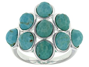 Pre-Owned Turquoise Sterling Silver Over Bass Ring