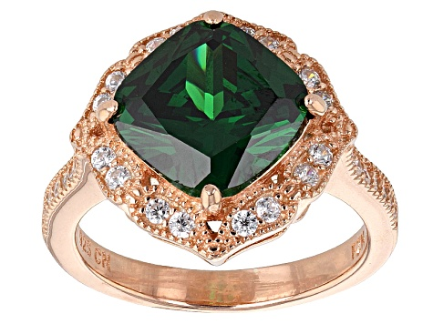 Pre-Owned Green And White Cubic Zirconia 18k Rg Over Silver Ring 6.73ctw