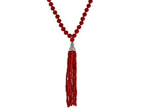 Pre-Owned Red Coral Rhodium Over Silver Tassel Necklace