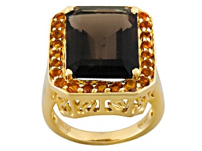 Pre-Owned Brown Smoky Quartz 18k Yellow Gold Over Silver Ring 11.66ctw