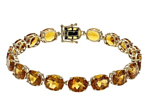 Pre-Owned Orange Madeira Citrine 10k Gold Tennis Bracelet 26.25ctw