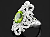 Pre-Owned Green Peridot And White Topaz Sterling Silver Ring 4.87ctw