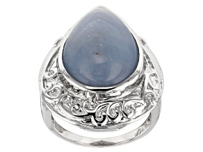 Pre-Owned Blue angelite sterling silver solitaire ring