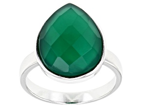 Pre-Owned Green Onyx Rhodium Over Sterling Silver Solitaire Ring 8.00ct