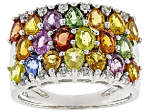 Pre-Owned Mixed-color Sapphire Rhodium Over Silver Ring 4.45ctw