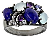 Pre-Owned Blue lapis lazuli black rhodium over silver ring .18ctw