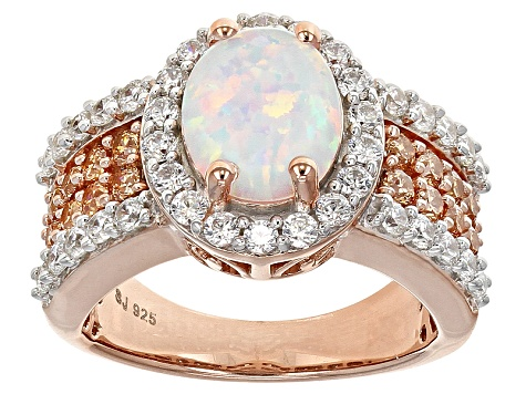 Pre-Owned Lab Created Opal And Brown And White Cubic Zirconia 18k Rose Gold Over Silver Ring 2.45ctw