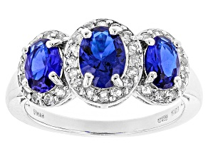 Pre-Owned Blue Lab Created Spinel Sterling Silver 3-Stone Ring 2.01ctw