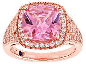 Pre-Owned Pink Cubic Zirconia 18K Rose Gold Over Sterling Silver Halo Ring 7.90ctw