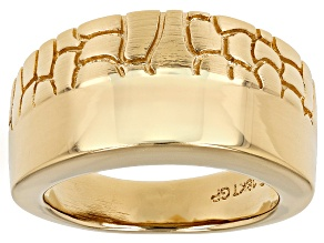 Pre-Owned 18k Yellow Gold Over Bronze Polished And Textured Band Ring