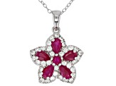 Pre-Owned Red ruby rhodium over silver pendant with chain 2.10ctw
