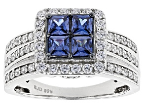 Pre-Owned Blue And White Cubic Zirconia Rhodium Over Sterling Silver Ring 2.20ctw